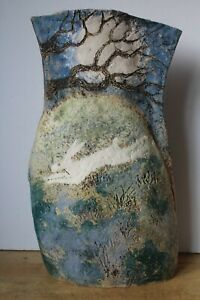 Large Hand Made Studio Pottery - 'Hare under Moonlight' 45.5cm (Hospiscare)