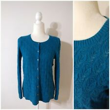 LL Bean Pet. L Cardigan Sweater Teal Blue Turquoise Open Knit Soft Merino Blend