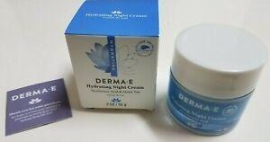 NIB Derma E Hydrating Night Cream Hyaluronic Acid+Green Tea 2oz/56g, New Sealed