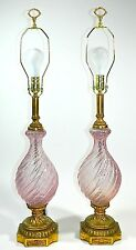 Pink Murano Glass Lamp Pair