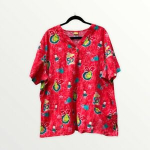 Dr Seuss Scrub Top Grinch Size 3X Red Cindy Lou Who Christmas 50th Birthday Tear