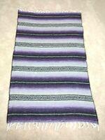 Mexican Serape Blanket Purple throw Southwest  white fringe 44 x 70