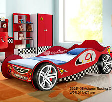 NEW KIDS BOYS RED RACING CAR Single BED 3D Wheels Childrens TIMBER SLAT