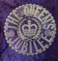 Original large Queen Victoria Jubilee glass plate 1887