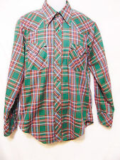 MILLER WESTERN WEAR Vintage 1960's/70's Mens Western Style Shirt 15 1/2-34 Plaid