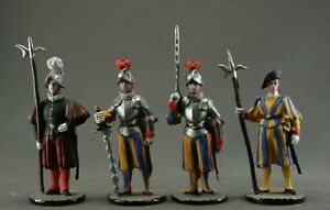 Painted tin toy soldiers figures 54 mm. Set of 4 soldiers. Vatican Guard