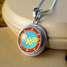 WONDER WOMAN retro Snap button rope pendant gift jewelry W/ steel necklace