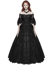 Punk Rave Gothic Wedding Dress Long Black Lace Steampunk Victorian Prom Ballgown