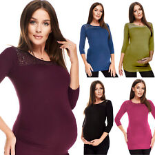 Purpless Maternity 3/4 Sleeve Pregnancy Top Shirt Blouse with Lace Trim 5300