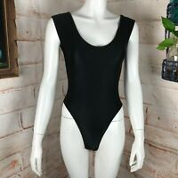 Vintage 80s Stevi Brooks Black S/M Shiny Spandex High Cut Thigh Leotard BodySuit