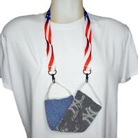 USA Flag Double Hook Face Mask Holder Lanyard Necklace Badge ID Case Holder
