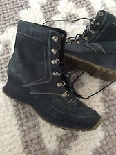 TIMBERLAND Women's Wedge Lace-Up Ankle Boots Sz 8.5 Black Nubuck