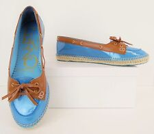 NWOB Enzo Angiolini Blue + Tan Espadrille Flats Loafers Boat Shoes 9.5M (S180)