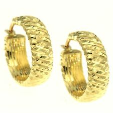 Orecchini Anelle ORO Giallo 18 kt. 750 Diamantato Orecchini a Cerchio Anella