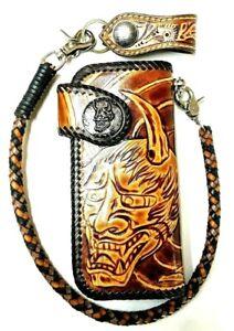 Leather biker trucker motorcycle Chain Wallet hand Tooled skull Devil Demon