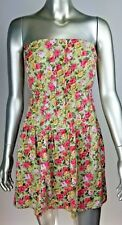 FOREVER 21 Floral Strapless Dress Green Pink size MEDIUM M