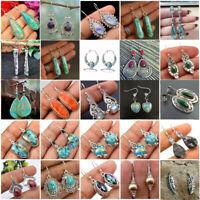 Silver Ruby Topaz Moonstone Ear Stud Hook Dangle Drop Woman Fashion Earrings