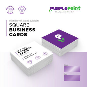 Square Printed Business Cards - Laminated - Full Colour - 450gsm silk - bus card