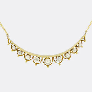 Antique Gold Necklace - Victorian Diamond and Pearl Crescent Moon Necklace
