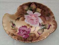 Vintage Lefton China 20276 Handpainted Nut Candy Trinket Dish Leaf Shape Flowers