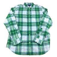 Banana Republic Slim Fit Plaid Linen Blend Button Up Shirt, Size Large, Green