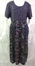 VTG 1990's Rayon Boho Maxi Dress Ditsy Floral Blue Pink Empire Waist Pockets M