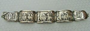 "Vintage Sterling Silver 900 - PERU Peruvian Inca Llama & Man Panel Bracelet 7"""