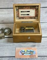 """Vintage Thorens Swiss (Pre Reuge) Wooden Music Box Plays 2 Songs 5"""" Antique Box"""