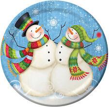 8 x Christmas Snowman Paper Dinner Plates Blue Snowmen Party Plates