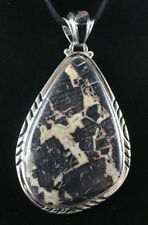 Fossilized Wood Sterling Silver .925 Natural Handmade Custom Pendant Inlaid Bail