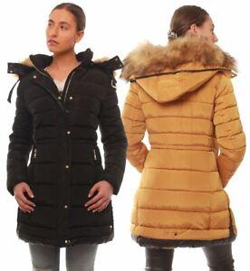 Womens Puffer Parka Coat Faux Fur Size 12 8 10 14 16 Black Mustard Stone