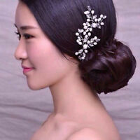 2x Wedding Bridal Party Hair Pin Clip Flower Crystal Rhinestone Pearl Hairpins