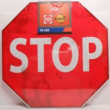 Tin Road Sign STOP Weathered Look Wall Decor Plaque NEW