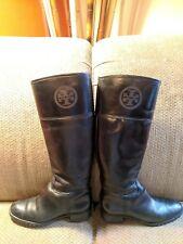 Tory Burch Womens 7.5 M Tall Black Leather Riding Style Boots A71B Pull On R4S3