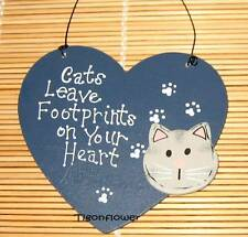 Country Decor Heart Wood Sign CAT Leave Footprints Heart buy 2 get 1 free