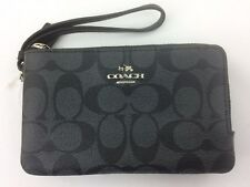 New Authentic Coach F87591 Double Corner Zip Wristlet Wallet Black Smoke/Black
