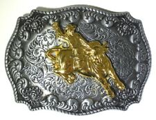 WESTERN RODEO COWBOY HORSE  BELT BUCKLE GOLD COLOR RODEO ON BLACK SILVER BUCKLE