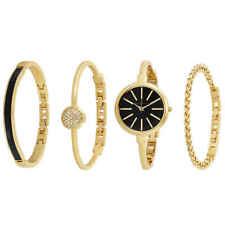 Anne Klein Gold and Black Ladies Watch and Bracelet Set 1470GBST