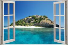 Cheap 3D Window view Exotic Beach Wall Sticker Film Mural Art Decal 432