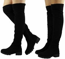 Knee High Boots Faux Suede Slim Heel Shoes for Women