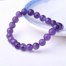 Crystal Stretch Beaded Bracelet 8mm Natural Gorgeous Amethyst Gemstones Healing