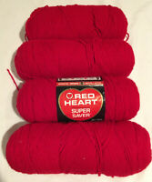 Red Heart Super Saver Yarn Cherry Red Acrylic 364 7 Oz 4 Skeins