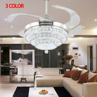 "42"" Invisible Crystal Ceiling Fan Lamp Remote Control 3 Color Dimmable Lamp"