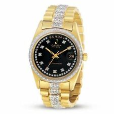 New 18k Gold JUVENIA Men's Automatic Day/Date watch with 5.40 ct G/VS1 Diamonds
