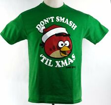 Angry Birds Christmas T-Shirt Dont Smash Til Xmas Green Mens Large Cotton