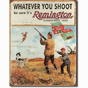 Remington Whatever You Shoot Rifle Hunting Distressed Retro Vintage Tin Sign New
