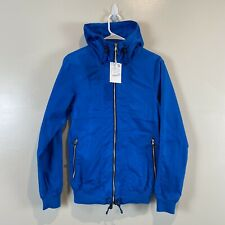 Pull and Bear Mens Small Blue Hooded Zip Jacket Coat Windbreaker Cotton Canvas