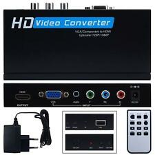 Upscale VGA/component to HDMI Upscaler 720p/1080p HD video Converter Adapter HOT