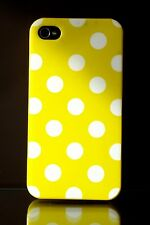 iPhone 4 4S  Yellow  white spots    Back Cover Case skin Yellow TPU