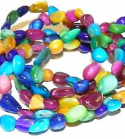 MP667 Assorted Color Medium 5mm Pebble Nugget Mother of Pearl Shell Beads 36""
